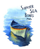 Boats. Vector watercolor image of the fishing boats Royalty Free Stock Photo