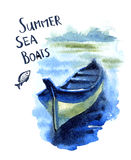 Boats. Vector watercolor image of the fishing boats Royalty Free Stock Photos
