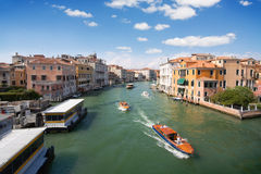 Boats in Venetian Grand Canal Royalty Free Stock Photography