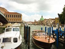 Boats on Venice Grand Canal Royalty Free Stock Images