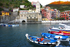 Boats, Vernazza, Cinque Terra, Italy. Colorful Boats Moored at Dusk in Horbor of Vernazza, Cinque Terra, Italy Royalty Free Stock Images