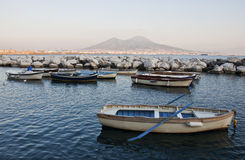 Boats and Vesuvius Royalty Free Stock Image