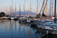 Boats and Vesuvius Royalty Free Stock Images