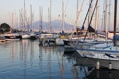 Boats and Vesuvius Stock Image