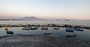 Boats and Vesuvius Stock Photography