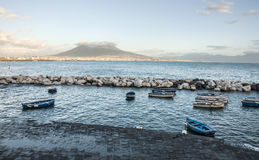 Boats and Vesuvius Royalty Free Stock Photo