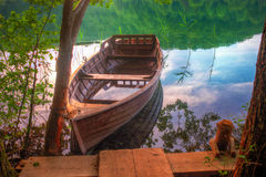 Boats. View at the  forest lake Stock Photo
