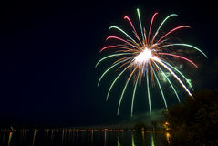Boats viewing fireworks over lake on the 4th ofJuly. Minnesota Royalty Free Stock Photos