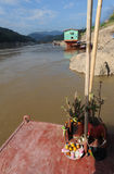 Boats at the village of Pak Beng on River Mekong Royalty Free Stock Photo