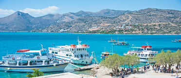 Boats visiting Spinalonga Island Royalty Free Stock Image
