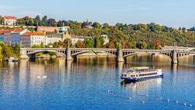 Boats on the Vltava River Stock Photo