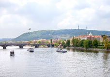 Boats on Vltava river, Prague Stock Photo