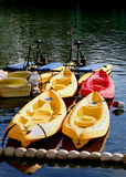 Boats waiting to be rented. Kayaks and peddle bike boats waiting to be rented Stock Photos