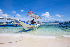 Boats waiting for tourists to travel between the islands. Philippines Stock Photos