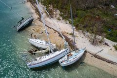 Boats washed on shore after Hurricane Irma Key West FL. Aerial image of aftermath of Hurricane Irma in the Florida Keys Stock Image