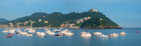 Boats, water and beach in city of Donostia Royalty Free Stock Photography