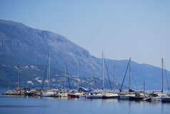 Boats on the water close to the Kos island Royalty Free Stock Image