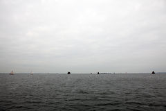 Boats on water in cloudy weather Royalty Free Stock Photography