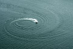 Boats on the Water doing Circles Stock Images
