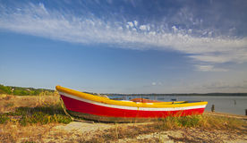 Boats in the water of Foz do Arelho. Royalty Free Stock Photography