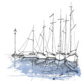 Boats on water. Harbor sketch, transportation background Royalty Free Stock Image
