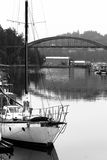 Boats on Water Laconner Washington Swinomish River Channel Stock Photo