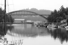 Boats on Water Laconner Washington Swinomish River Channel Stock Photos