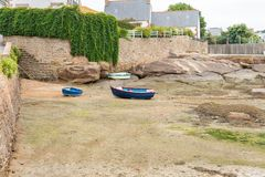 Boats at low tide. Boats without water at low tide royalty free stock photo
