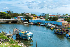 Boats on the water from an old fishing village in Espirito Santo, Brazil Stock Photography