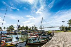 Boats on the water from an old fishing village in Espirito Santo, Brazil Stock Photos