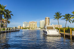 Boats at waterfront homes in Fort Lauderdale Royalty Free Stock Image