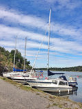 Boats on waterfront. Of Swedish city. Summer season Stock Photography