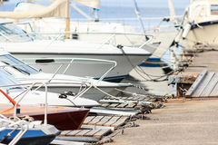 Boats on waterfront. Of Swedish town. Summer season Stock Image