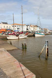 Boats were moored to a quay in Pornic (France) Stock Image