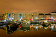 Boats in West India Quay in London Docklands Royalty Free Stock Images