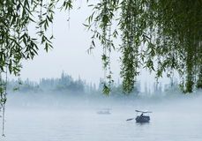 Boats on west lake. Boats on foggy west lake,with willow Royalty Free Stock Photos