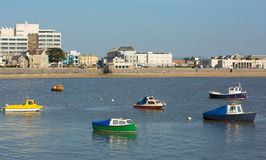 Boats in Weston-super-Mare bay and sea front view Stock Image