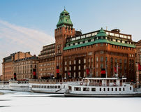 Boats in winter. Steamboats at anchor in wintertime royalty free stock images