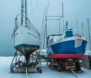 Boats in Winter Stock Image