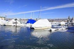 Boats and winter marina Royalty Free Stock Image