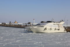Boats on winter parking. Stock Images