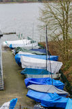 Boats in winter storage Royalty Free Stock Photo