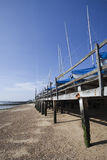 Boats in winter storage on Southend Beach, Essex, England Stock Photo