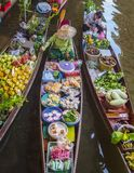 Boats With Colourful Fruits Vegetables, Thailand Stock Photos