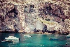 Boats at Xlendi Bay at Gozo, Malta Royalty Free Stock Image