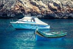 Boats at Xlendi Bay at Gozo, Malta Stock Images