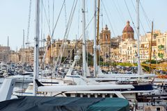 Boats and yachts anchoring in Valletta, Malta Royalty Free Stock Photos