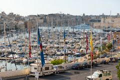 Boats and yachts anchoring in Valletta, Malta Royalty Free Stock Image