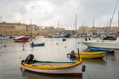 Boats and yachts anchoring in Valletta, Malta Stock Photo