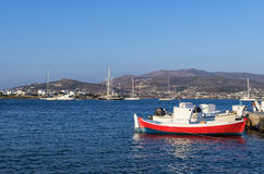 Boats and yachts in Antiparos island, Cyclades. Greece stock image